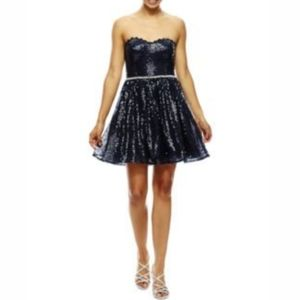 City triangle black strapless lace&sequins dress